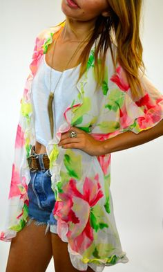 Floral Print Throw Over