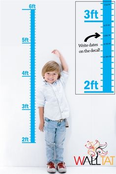 """""""Kids Growth Chart"""" wall decal by WALLTAT.com is easy to install.  Write directly on the vinyl and preserve your beautiful paint."""