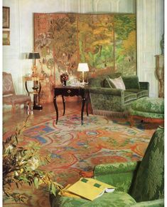 Henri Samuel room of the day - a salon for Jacques Abreu c 1960. The artist Arthur Aesbacher told us that Henri had a rare white strawberry tree in his potager and on special occasions (like impressing American clients) he would serve them for dessert. #henrisamuel #springgreen