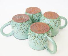 Mediterranean Ceramic Coffee Cup Mug  Set of 4  by BackBayPottery, $88.00