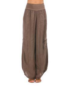f8c1748a276 100% LIN BLANC Brown Linen Harem Pants - Women   Plus