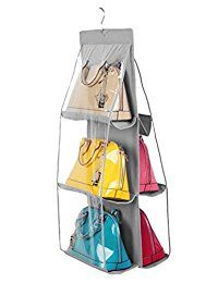 Santwo 6 Pocket Handbag Anti-dust Cover Clear Hanging Closet Bags Organizer Purse Holder Collection Shoes Save Space (gray)