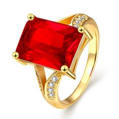 SWATER Gorgeous Luxury Square Colorful Big Cubic Zircon Jewelry For Engagement Fashion Crystal Statement New Wedding Rings #Affiliate