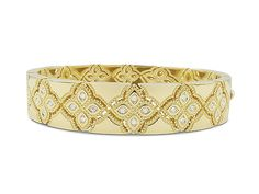 Roberto Coin 18K Yellow Gold Venetian Princess Diamond Bangle Bracelet, Featuring Round Diamonds =.30cts Total Weight