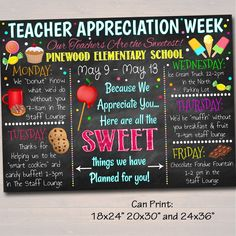 EDITABLE Candy Sweet Theme Teacher Appreciation Week, Itinerary Poster – TidyLady Printables Teacher Appreciation Week, Employee Appreciation, Teacher Gifts, Teacher Presents, Teacher Treats, Teacher Stuff, Principal Appreciation, Assistant Principal, Staff Gifts