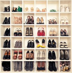 shoe storage finally comes out of the closet. {top to bottom: painted molding shoe rack via apartment therapy; kelly conner's shoe wall via apartment therapy; teen vogue fashion news director's shoe cubby display via playfast. Shoe Cubby, Diy Shoe Storage, Shoe Shelves, Storage Ideas, Closet Storage, Storage Solutions, Ikea Shelves, Wall Shelves, Shoe Storage Cubes