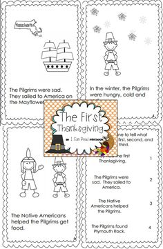 Emergent reader for first Thanksgiving. Includes vocabulary cards and sequencing practice. Black and white for easy printing- have students color the pictures!