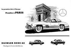Mercedes-Benz 300 SL (W 198 I, 1954 bis 1957). Werbeanzeige von 1954, französisch.
