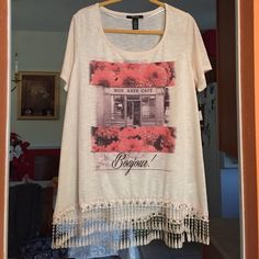 Cream  floral bonjour tunic New with tags long Style & Co Tops Tunics