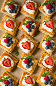Puff Pastry Fruit Tarts with Ricotta Cream Filling - Cooking Classy Puff Pastry Desserts, Puff Pastry Recipes, Tart Recipes, Cookie Recipes, Dessert Recipes, Puff Pastries, Delicious Desserts, Yummy Food, Fancy Desserts