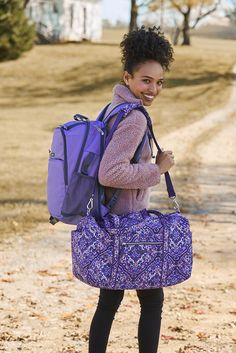 Own the ultimate overnight bag, an Iconic Medium Travel Duffel. In colorful quilted cotton, its lightweight, packable and features a detachable shoulder strap. Duffel Bag, Vera Bradley Backpack, Shoulder Pads, Camping Hacks, Travel Bags, Fitness Fashion, Sewing Ideas, Style Icons, Addiction