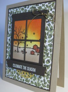 Barb Mann Stampin' Up! Demonstrator - SU - Fall Window View Card  - Happy Scenes - Thanksgiving