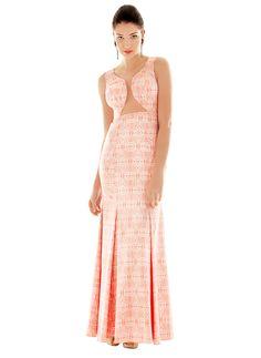 Vestido lindo sereia com recortes em transparência #azulejo #dolps
