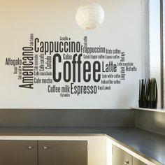 Vinilos decorativos con textos de Café. Muy útil para cafeterías. Masquevinilo.com