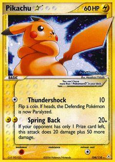 Pikachu Gold Star card number 104/110