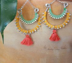 Boucles d'oreilles macramé, bijoux en macramé pastel, Larges boucles d'oreilles à pompon , Boucles d'oreilles bohème couleur pastel : Boucles d'oreille par bombay-cotons