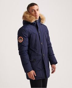 Shop Superdry Mens Everest Parka Jacket in Nautical Navy. Buy now with free delivery from the Official Superdry Store. Superdry Jackets, Superdry Mens, Men's Jackets, Nylons, Camouflage, Chino Joggers, Tie Knots, Bleu Marine