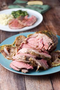 Cut really lovely roasted boneless leg of lamb
