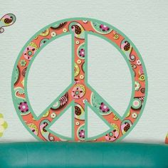 Paisley Peace Sign Wall Sticker Kit