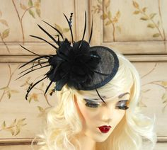 a4069b5a3 Black Fascinator Fascinator Hat with Feathers by MadameMerrywidow White  Fascinator