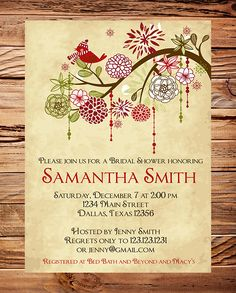 Christmas Bridal Shower Invitation, Red and Green, Christmas Engament  Invitation, Bridal, Wedding Shower,  Bird, Red, Green,  Branch, Bird. $20.00, via Etsy.