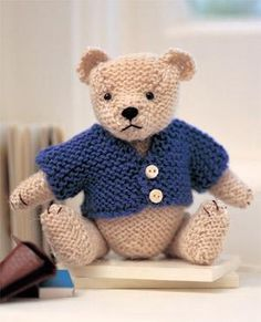 This super-cute soft toy in a jacket makes a great gift for children (or grown-ups), and it's easy to make with our free smart teddy bear knitting pattern. Knitting Bear, Teddy Bear Knitting Pattern, Knitted Doll Patterns, Animal Knitting Patterns, Knitted Teddy Bear, Crochet Bear, Knitted Dolls, Free Knitting, Knitting Toys