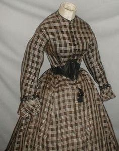 Late American Civil War Era Brown Plaid Dress with Swiss Waist