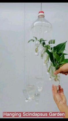 Garden Ideas With Plastic Bottles, Plastic Bottle Planter, Plastic Bottle Crafts, Recycled Plastic Bottles, Reuse Plastic Bottles, House Plants Decor, Plant Decor, Garden Crafts, Garden Projects