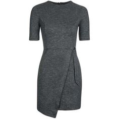 TopShop Wrap Skirt Mini Dress (258345 PYG) ❤ liked on Polyvore featuring dresses, short-sleeve dresses, mini dress, wrap skirt, over the knee dresses and short sleeve wrap dress