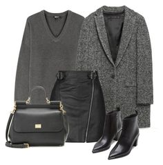 """""""Monochromatic"""" by cherieaustin on Polyvore featuring DKNY, Zara, Topshop, Dolce&Gabbana, Acne Studios, women's clothing, women's fashion, women, female and woman"""