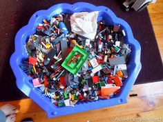 Perfect Lego storage - small outdoor pool under bed.  smile