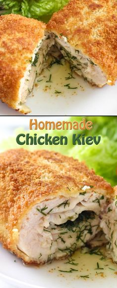 Homemade Chicken Kiev 4 chicken breasts, boneless, skinless4 oz butter, softeneda bunch of dill, minced1 cup Panko breadcrumbs100 grams flour3 eggs2 tablespoons milksalt, pepperneutral oil for frying Directions on page