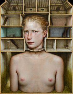 Dino Valls: INHABITATIO, 2017. Oil on wood, 60 x 47 cms.