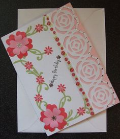Handmade Floral Birthday Card by CraftyKelGifts on Etsy, £2.99