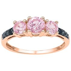 Morganite and Black Diamond Ring in 10K Rose Gold ($413) ❤ liked on Polyvore featuring jewelry, rings, pink, pink gold jewelry, red gold ring, pink gold rings, band rings and rose gold jewellery