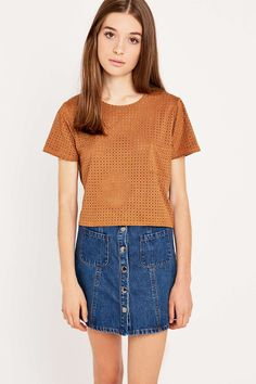 Urban Outfitters Suede Look Eyelet Shirt