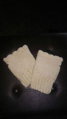 Hand crocheted fingerless gloves