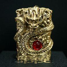 Japanese Handicraft Master Solid Brass Inlay Ruby Dragon Zippo Lighter