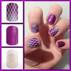 Mixed manicure of Jamberry nail wraps. From top to bottom: Damsel in Distress, Fizzy Grape, and Grenada- which is a clear wrap that is layered over Fizzy Grape. Emily Nelson-Jamberry Independent Consultant https://enchantingjams.jamberry.com/us/en/