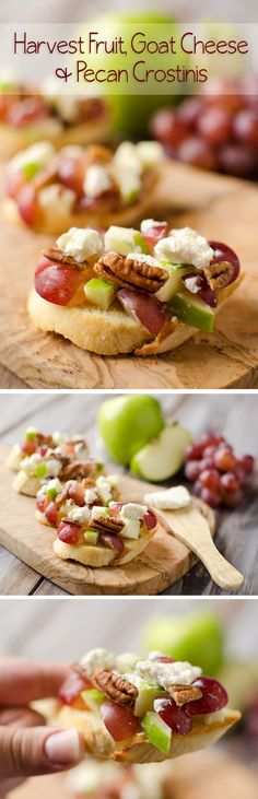 Harvest Fruit, Goat Cheese & Pecan Crostinis - Krafted Koch - A fantastic appetizer recipe for the holidays! Harvest Fruit, Goat Cheese & Pecan Crostinis - Krafted Koch - A fantastic appetizer recipe for the holidays! Finger Food Appetizers, Yummy Appetizers, Appetizers For Party, Appetizer Recipes, Appetizer Ideas, Fall Recipes, Holiday Recipes, Christmas Recipes, Snacks Für Party