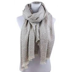 Soft Warm Knitted Silver Gray Scarf Wrap Frilled Edges