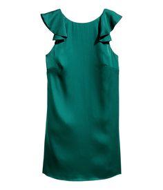 Vestido de satén con volantes   Verde oscuro   Mujer   H&M MX