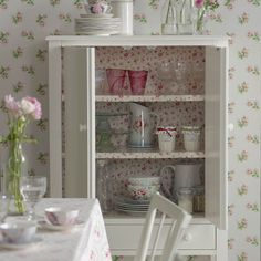 Kitchens: Shabby Chic Kitchen with Flowery Wallpaper also White Cabinet and Flowery Table Linen