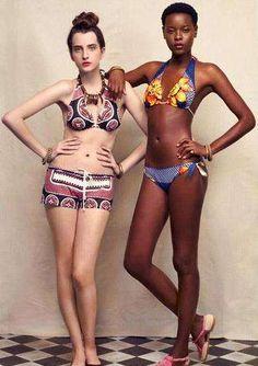 New York label Suno, uses African fabrics in this super-cute swimwear