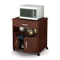 South S Furniture Brown Scandinavian Microwave Cart