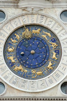 Golden zodiac on St Mark's Clock, in San Marco, Venice. Objets Antiques, Ravenclaw, Beautiful Places, Clock, Cool Stuff, Inspiration, Stars, Venice Italy, Celestial
