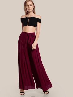 Self Tie Fold Pleated Palazzo Pants Clothing Dresses Tops Tees Sweaters Fashion Hoodies Sweatshirts Jeans Pants Skirts Shorts Leggings Active Swimsuits Cover Ups Lingerie Sleep lounge Jumpsuits Rompers Overalls Coats Jackets Vests Suiting Blazers Socks Hosiery #ActiveSkirts