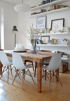 You& love our affordable rustic and contemporary dining room sets, tables . You& love our affordable rustic and contemporary dining room sets, tables and chairs from around the world Dining Room Wall Decor, Dining Room Design, Interior Design Living Room, Kitchen Interior, Kitchen Shelves, Dining Room Picture Wall, Dining Room Floating Shelves, Dining Area, Kitchen Dining Rooms