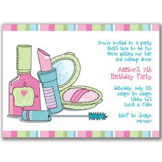 Pretty Makeup Invitations for Girls Birthday Party. $22.00, via Etsy.