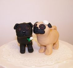 Custom Pug Dog Wedding Cake Topper - Colors of Choice by Country Squirrels RUS on Etsy.